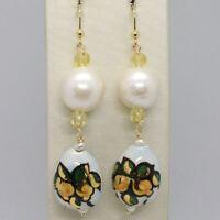 Ohrringe aus Gold Gelb 750 18K Perlen Fw und Tropf Bemalt Hand Made in Italy