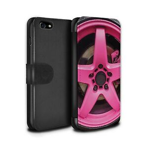 STUFF4 PU Leather Case/Cover/Wallet for Apple iPhone 7/Alloy Wheels/Pink