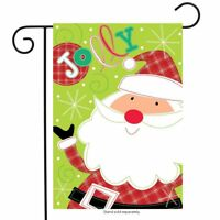 "Jolly Santa Christmas Applique Garden Flag Holiday 12.5"" x 18"" Briarwood Lane"