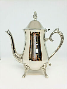 Vintage Ornate Silver Plate Coffee Pot Flower Design Footed Hinged Lid