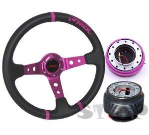 Toyota Jdm Sport Deep Dish 350Mm Steering Wheel Purple+ Hub+Quick Release Purple