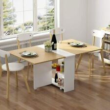 Folding Dining Table, Movable Dinner Table on Wheels,Extendable Table w/ Cabinet