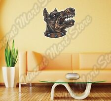 "Angry Hell Dog Head Beast Pet Fighting Wall Sticker Room Interior Decor 25""X20"""