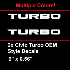 "2016+ Honda Civic Turbo OEM Style Decal 6"" Long Emblem Sticker"