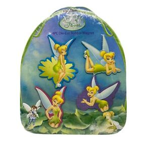 Disney Posing Tinkerbell 4 Pc Die-Cut Individual Rubber Magnet Set New