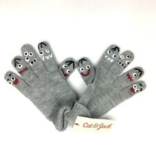 Cat & Jack Childrens Gloves Os Knit Gray Monster Faces Rolled Cuff Kawaii Kids