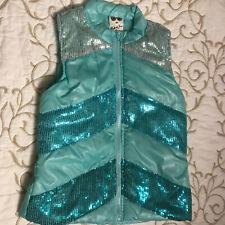 Belle du Jour Turquoise Sequined Vest Jacket - Girls Size 10-12 - Stunning