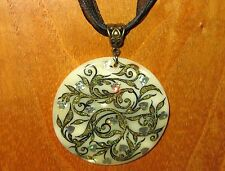 Russian hand painted SHELL ART PENDANT Golden & Black Leafs Silver Heart Flowers