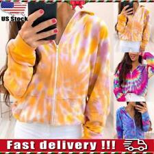 Womens Tie Dye Long Sleeve Sweatshirt Coats Ladies Hoodies Zip Up Jacket Outwear