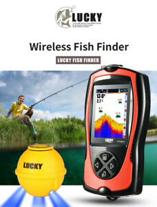 """Lucky 2.4"""" 45M Depth Wireless Sonar Fishfinder Alarms w/ Attractive Lamp System"""