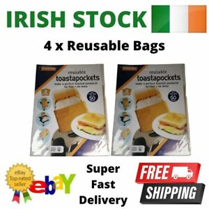 Reusable Toaster Bags x 4 Non Stick Toast Bag Sandwich Toastabags Toasty Pockets