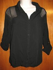 BERSHKA COLLECTION Small BUTTON-UP SHIRT (sheer shoulders & roll-up sleeves) EUC