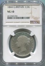 1844 Great Britain 1/2 Crown. Ngc Vg10