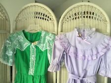 Lot Of 2 VTG Square Dance Dresses Purple  Ribbon Trimmings & Green Lace Sz 10