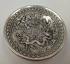 Chinese Old cupronickel Handmade Carved dragon and phoenix dish