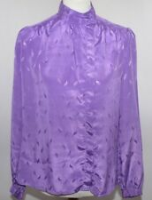 VTG La Chine Classic By Galinda Wang Purple Button Up Blouse  Womans 10