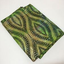 "2 Yards Green Batik with Gold Metallic Fabric 45"" wide"
