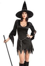 Halloween Black & Silver Witch Costume Dress Loose Sleeves & Hat Size 10-12