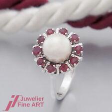 Ring '1 Süßwasser-Zucht- Perle und 10 Rubine (Rubin) in 14K/585 Weißgold