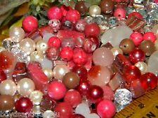 *NEW MIX 4/oz RANDOM 6-15mm PINK /Burgundy LOOSE Beads Lot Glass, Gem, Stone
