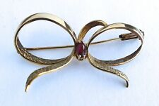 ANTIQUE VINTAGE EDWARDIAN 9ct GOLD SWEETHEART BROOCH GARNET + RIBBONS