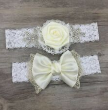 White Lace With Blue Ribbon and Heart Pearl Bow Wedding Bride Garter