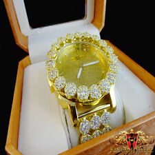 Real Diamond Yellow Gold Finish Mens Khronos Joe Rodeo Cluster Bezel Iced Watch