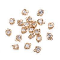 100PCS Alloy Cubic Zirconia Heart Pendants Lt. Gold Mini Dangle End Charms 12mm