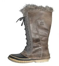 SOREL CATE the GREAT Winter Snow BOOTS Womens 8 Pewter Kettle Faux Fur LEATHER