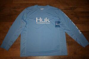 HUK Men's Icon X Long Sleeve Fishing Shirt Size XL (Carolina Blue 420) NWT
