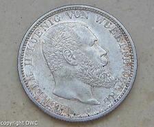 Coin Münze 2 Mark Württemberg 1914 F J. 174 Kaiserreich Silber 10843