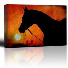Wall26 - Horse silhouette - Orange setting sun - Canvas Art Home Decor - 12x18