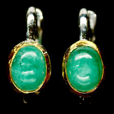 NATURAL 6 X 8 mm. GREEN EMERALD 925 STERLING SILVER EARRINGS