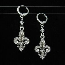 """SJ1"" 3D Fleur De Lis Charm Sterling Silver Dangle Earrings w/ Swarovski Crystal"