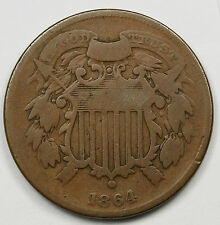 1864 Two Cent Piece.  SMALL MOTTO.  V.G.  94911