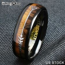 8/6mm Black Dome Tungsten Ring 2 Style Wood Arrow Wedding Band Designer Jewelry