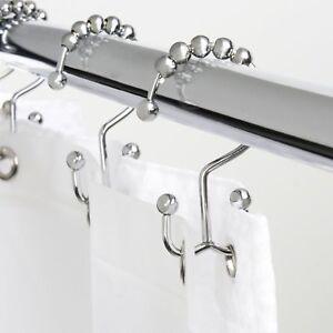 24 unidades color negro Ulable ganchos para cortina de ducha de acero inoxidable cromado pulido anillos de cortina de ducha para ba/ño