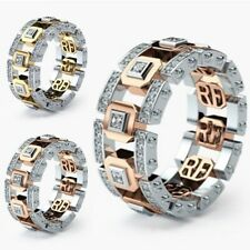 Fashion Men Women Stainless Steel Crystal Band Ring Engagement Wedding Jewelry