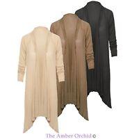 NEW WOMENS LADIES WATERFALL OPEN CARDIGAN KNITTED BOYFRIEND DRESS TOP SIZE 8-16