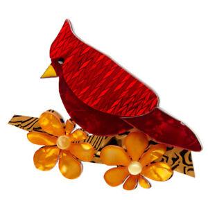 Erstwilder Brooch Ruby The Red Cardinal BNIB