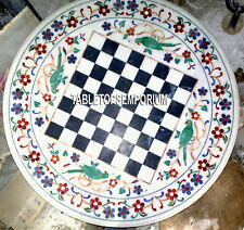 15'' White Marble Chess Board Table Top Parrot Marquetry Inlaid Hallway Decor