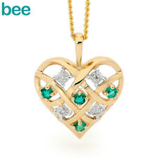 Emerald Diamond Baby Heart 9k Solid Yellow Gold Pendant 64747/g