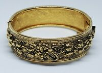 Vintage Victorian Revival Brass Repousse Hinged Bracelet