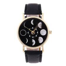 Stylish Lunar Eclipse Moon Phase Women Leather Strap Quartz Casual Wrist Watch