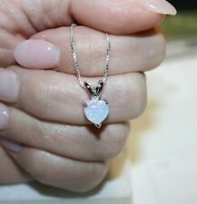 Heart Shaped Created White Opal Pendant Necklace 14k White Gold over 925 SS