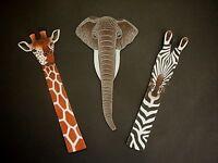 African Giraffe Elephant Zebra Bookmark - African Kenya Fairtrade Craft Gift