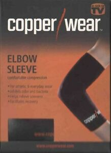 Copper Wear Elbow Compression Sleeve PAIR (TWO) Relieve Muscle & Joint Fatigue