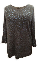 Ladies Womens Embosed Glitter Special Occasion Tunic Top Blouse 3/4 Bell-sleeves
