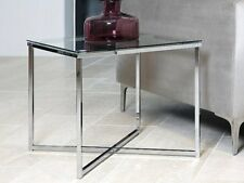 Glass Coffee Table Side End Lamp Chrome Stylish Modern Living Room Furniture