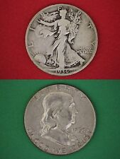 Make Offer $15.00 Face Silver Franklin Walking Liberty Half Dollars Halves Junk